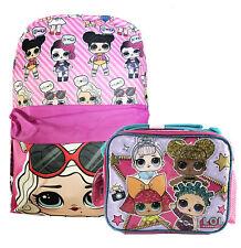 "L.O.L Surprise! School Printed Backpack 16"" Girls Pink Lol Bag Pink W/Lunch Bag"