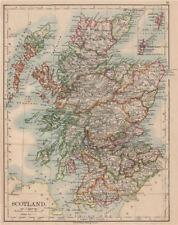 Scotland. Comtés. SOUS-MARIN Telegraph cables. Johnston 1895 old antique map