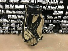 "NICE Vintage BEN HOGAN GOLF Leather 9.5"" STAFF BAG Black & Tan WORN USED BROKE"