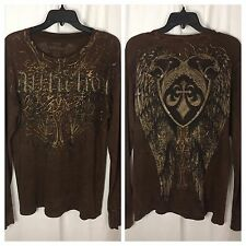 0560217 Affliction Shirt M Long Sleeve Thermal Brown Cotton Distressed Top
