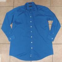 Mens XL Tall 17 (36-37) Blue Checked Button Up Long Sleeve STAFFORD SUPER Shirt