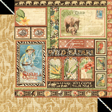 Graphic45 AMAZING AFRICA 12x12 Dbl-Sided (2pc) Scrapbooking Paper SAFARI