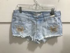 Abercrombie ladies size 8 NWT distressed embroidered low rise cut off denim shor
