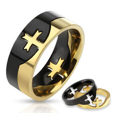 NEW Stainless Steel Men's Black & Gold Two Tone Cross Puzzle Band Ring Size 6-13