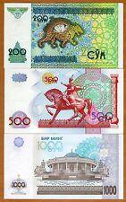 SET, Uzbekistan, 200;500;1000 Sum, 1997-2001, P-80;81;82, UNC