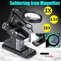 3X/4.5X/25X Mini 10 LED Light Welding Magnifier Magnifying Glass W/ 3 Boxes