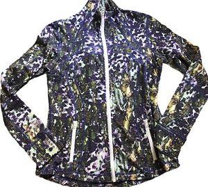LULULEMON Define Jacket size 10 Floral Sport White Multi EUC Run Yoga Everyday
