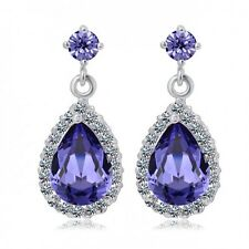 LOVELY 18K WHITE GOLD PLATED GENUINE CUBIC ZIRCONIA PURPLE DANGLE  EARRINGS