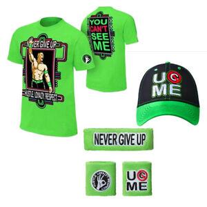 5pcs T Shirt Hat cap Wristbands Sweatband boys mens for John Cena WWE baseball