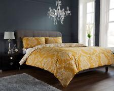 Damask Gold  / Charcoal Duvet Quilt Cover Bedding Set Single Double King &S/King