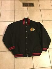 Classic Chicago Black Hawks NHL Spell Out Script Varsity Jacket