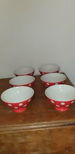 WHITTARD OF CHELSEA FLORENCE RED POLKA-DOT SOUP CEREAL DESSERT BOWLS X 6