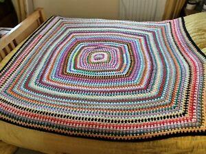 Crochet Vintage Retro Style Granny Blanket New Double
