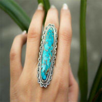 Vintage Women Men Big Blue Copper Turquoise Gemstone Ring Bohemia Jewelry Gift