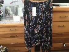 Stunning Black floral swingy handkerchief skirt by M&S Per Una size 12 BN