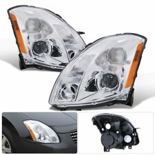 For 2004-2006 Nissan Maxima Projector Headlight Chrome Housing Amber Clear Lens