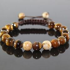 SAHARA Herren Edelstein Shamballa Perlen Armband, Naturstein-Perlen Tiger Eye
