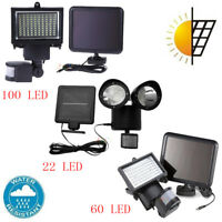 100/60/22 LED Garden Solar Powered PIR Motion Sensor Light Security Flood Lamps