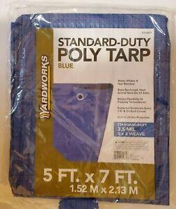 Lot of 4 Standard Duty Poly Blue Tarp 5X7 Rustproof grommets