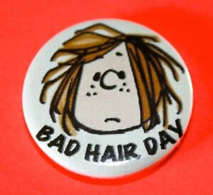 Peppermint Patty Bad Hair Day Peanuts Snoopy inspired button pin badges