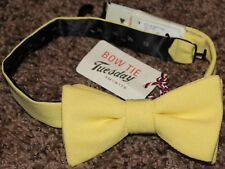 NEW mens BOW TIE TUESDAY polyester YELLOW solid PROM wedding RIBBED LOOK