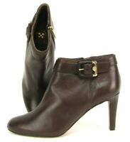 Vince Camuto Chrissa Ankle Boots Booties Side Zip Buckle Leather Brown Womens 9M