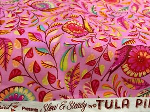 Tula Pink Slow and steady Snail Pink Fat Quarter 18 X 22inches Cotton Print New