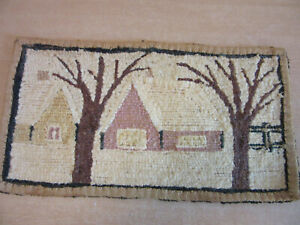 """Antique late 1800's Looped Hooked Wall hanging Rug 16""""X9"""" Cottage & Trees"""