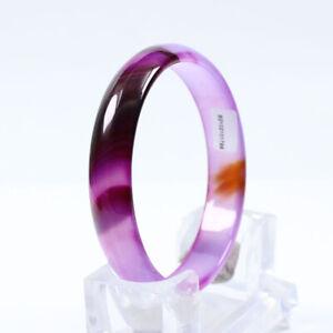 69mm Certified Grade Natural Agate Chalcedony Purple Jade Bracelet Bangle a3313