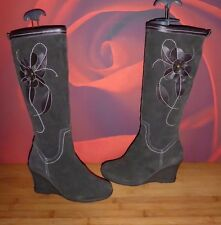 *61* SUPERB   BROWN LEATHER SUEDE WEDGE BOOTS EU 37