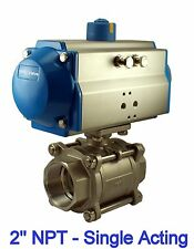 """2"""" Inch Pneumatic Air Actuated Stainless Steam Ball Valve Single Acting NC"""
