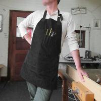 Mens Pro Heavy Duty Canvas Work Hobby Apron Large Pocket Black With Tool Pockets