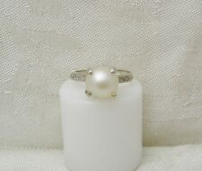 DAZZLING! 14K WHITE GOLD PEARL AND 4 DIAMOND COCKTAIL RING SIZE 6 N106-X