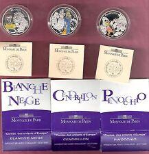 FRANKRIJK 3 x € 1,5 2002 PINOCCHIO, SNOW WHITE & CINDERELLA AG PROOF COLOUR