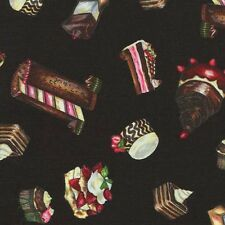 FANCY CHOCOLATE CAKES & PASTRIES Cotton Fabric BTY for Quilting, Craft, Etc