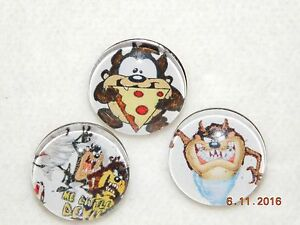 NEW Snap Chunk metal Button Charms 3ct assorted Taz 18-19MM charm snap buttons