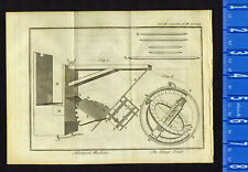Horary Machine & Ring-Dial, on Laid Paper- 1763 Pluche Engraving