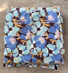 5 Vtg Floral Chair Cushions Pads Retro Blue Yellow 1940's