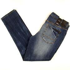 Sean John Mens New Slim Fit Size 36 x 33 Essex Dark Blue DISTRESSED WITH STRETCH