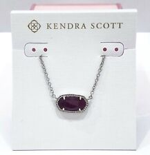 NEW Authentic KENDRA SCOTT Elisa Rhodium 508 Maroon Jade Pendant Necklace