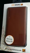 Leather Flip Case Phone Cover for Samsung Galaxy S3 magnetic closing Brown