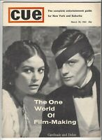 Cue March 1963 Alain Delon & Claudia Cardinale Photo Cover - .25¢ NYC Magazine