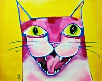 "Original ""Crazy Pink Cat"" Acrylic Painting 8 x 10 Abstract Samantha McLean"