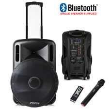 """Portable PA System Active Speaker Battery Powered Bluetooth & UHF Microphone 15"""""""