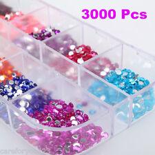 3000Pcs Crystal Glass Flat back Non Hot Fix Rhinestone Nail Art Decoration