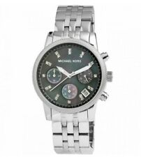 Michael Kors MK5021 Silver Bracelet Black Dial Ladies Chronograph Watch