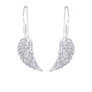 14K White Gold Over Sterling Silver Fashion Angel Wings Dangle Earrings