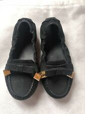Burberry Girls Black Suede Leather Bow Flats Sz 27, 9.5