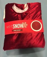 """Tree Skirt 48"""" Let it Snow Red With White Boarder New In Package"""