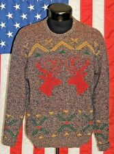 VTG Wool Robert Bruce Med USA Cardigan Pull Over Sweater Deer Buck Holiday Party